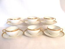 SUPERIEUR LIMOGES FRANCE ELYSEE LEGRAND 6 CUPS & SAUCERS GOLD ENCRUSTED FOLIAGE&