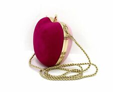 NINA RICCI PARFUMS APPLE SHAPE DESIGN PINK & MAGENTA CLUTCH BAG WITH CHAIN