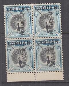 LABUAN, Postage Due, 1901 5c. Black & Blue, perf. 13 1/2-14, block of 4, mng.