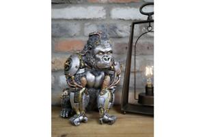Steampunk Gorilla   Silver  Finish   Resin Ornament   28 cm High