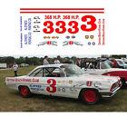 3 David Pearson 1961 Pontiac decal 1/64 scale AFX Tyco Lifelike