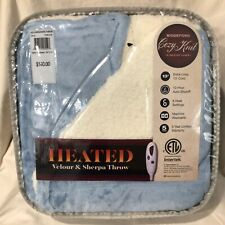 Biddeford Velour Sherpa Electric Heated Warming Throw Blanket Digital BLUE