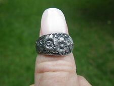 Signed S. KIrk & Son Ornate Floral Repousse Spoon Ring-Size 5