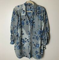 Roz & Ali Women's Blouse Size 2X Top Shirt 3/4 Ruched Tie Sleeves Floral Casual