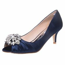 SheSole Womens Low Heel Dress Pumps Rhinestone Open Toe Wedding Shoes