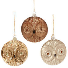 """3323061 4.5"""" Glass Owl Ornament-set of 3  Holiday Christmas Birds Forest"""