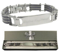 Custom Engraved Men's ID Bracelet Thick & Chunky Design with gift box - BR3