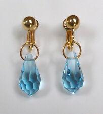 BEAUTIFUL BLUE CRYSTAL DROPS - GOLDEN CLIP ON EARRINGS  (Hook Options)
