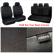 Black PU Leather Car Seat Covers 11Pcs/Set Seat Protector Interior Accessories