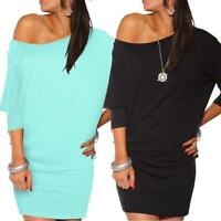 Womens Long Sleeve Off Shoulder Bodycon Mini Batwing Tunic Dress Plus Size S-3XL