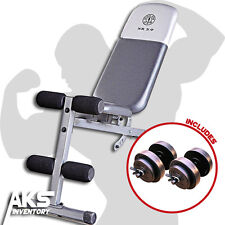 Golds Gym Utility Adjustable Bench & 40lb Weight Dumbells Home Fitness Equipment