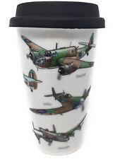 Double Walled Ceramic Travel Mug Planes SPITFIRE LANCASTER WELLINGTON Bomber