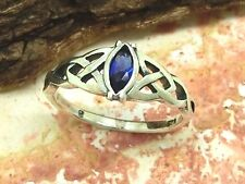 Damenring Zirkonia Blau 925 Silber Ring keltischer Knoten Triquetra Kelten