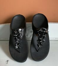 Fitflop Black Toe Post Leather Sandal 'BOOGALOO'  Embellished Size UK 7 EUR 41