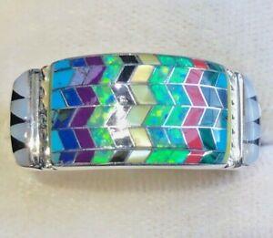 Turquoise Waters Brazilian Green Opal Zig Zag Men's Native ring 13 Sterling Z+