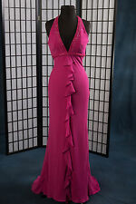 Bridesmaid Prom Pageant Moonlight Halter Raspberry Empire Waist Chiffon Size:6