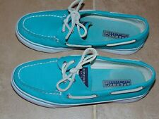 Sperry Top Sider Women's Canvas Shoe's Size 7M Green/Blue Biscayne Boat Shoe's