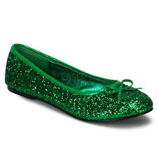 STAR16G/GRN Women's Basic Classic Cute Sparkle Green Glitter Flats Costume Shoes