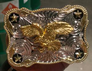 Oversize BIG EAGLE Western Belt Buckle Cowboy Rodeo Large Silver Gold tone ov002