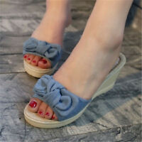 Women's Denim Wedge Med Heels Slippers Sandals Pumps Bow Peep Toe Sandals Mules