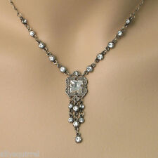 NEW ANNE KOPLIK VICTORIAN STYLE SQUARE W/ DROPS  SWAROVSKI CRYSTAL NECKLACE