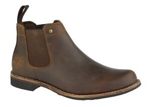 Mens Leather Woodland Dark Brown Crazy Horse Stylish Chelsea Dealer Boots