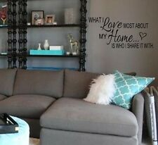 WHAT I LOVE MOST ABOUT MY HOME Vinyl Decal Decor Lettering Words Saying Quote