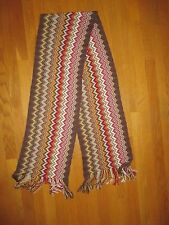 Ladies Missoni Brown Chevron Wool Blend Fringed Scarf Made in Italy