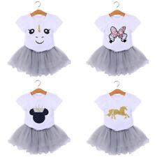 Unicorn Kids Baby Girl Outfit Clothes Cartoon T-shirt Top + Tutu Tulle Skirt Set