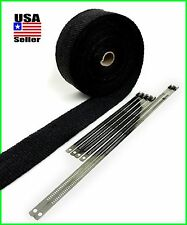 BLACK EXHAUST WRAP HEADER HEAT PIPE TAPE ROLL 2 X 50 FT STAINLESS LOCK TIES KIT