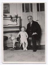 PHOTO ANCIENNE Jeu Doll Toy Bébé Cheval de bois Grand père Vers 1930 Jouet Piano