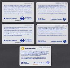 RARE LOT OF 5 DIFFERENT OYSTER CARDS -TUBE & NETWORK RAIL LOGO - NOT FOR TRAVEL!