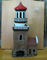 Lithuania Hand Work Foeer Whimsical Lighthouse Redware Pottery Art Pottery