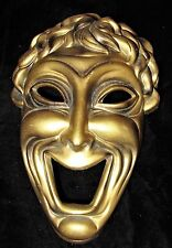 """Gold Ardco Theater Theatre Comedy Resin Mask Wall Hanging 8"""" Japan"""