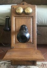 WORKING VINTAGE ANTIQUE HAND CRANK WALL TELEPHONE OLD OAK PHONE CONVERTED ROTARY