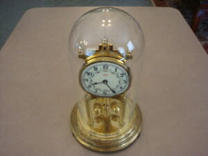Vintage Glass Dome Kundo Germany ANNIVERSARY CLOCK Kieninger & Obergfell Repair