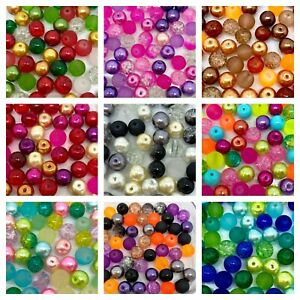 Glass Beads Mix - mixed pearls, crackle, frosted - choose size 4, 6, 8 or 10mm