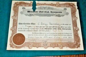 #S239,Opening Year Golf Stock Winchester Golf Club Winchester VA 1923
