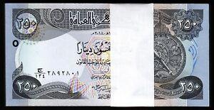 Iraq 250 Dinars 2018, UNC, BUNDLE, Pack 100 PCS, Consecutive, P-97 NEW Signature