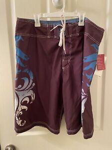 Speedo Men's Speedry Swim Board Shorts Brown Blue Size 36 NWT