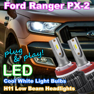 Ford Ranger White LED Headlight Bulbs, H7/H11 Low Beam PXII PX2 Wildtrak/XLT/FX4