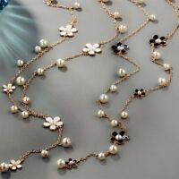 Fashion Women Plain Pearl Flower Necklace Pendant Sweater Chain Jewelry Party