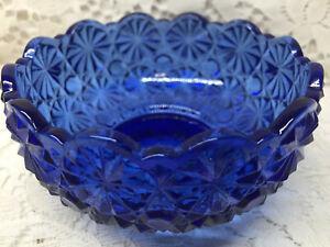 Blue Vaseline glass daisy and button pattern bowl uraniumcandy dish glow cobalt