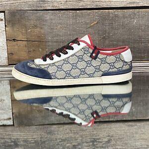 Gucci Court Beige Guccissima Blue Suede Red/White Sneaker [215360] US sz 8
