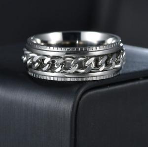 8 mm Breit Drehbar Ring   mit Kette Silbergrau Edelstahl 316L unisex (27J)