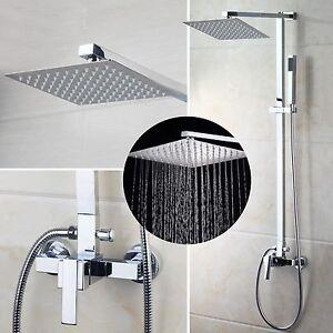 US Wall Mounted Rainfall Shower Faucet Set Heads&Hand Bathtub Mixer Taps Chrome