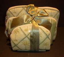 Waverly 3 Piece Beige Palm Tree Pattern Cosmetic Travel Bags Nwt