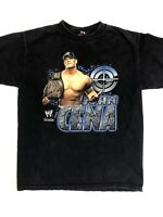 John Cena World Wrestling WWE 2007 Championship Belt Black T Shirt Men's Medium