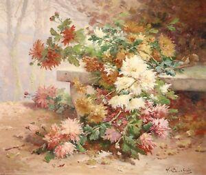 HENRI CAUCHOIS (1850-1911) SIGNED LARGE FRENCH IMPRESSIONIST OIL FLOWERS PARK