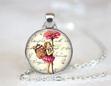 Mallow Fairy Tibet silver Glass dome Necklace chain Pendant Wholesale